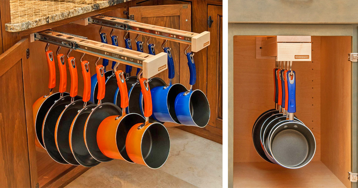 The Glideware Sliding Pot Holder Helps You Neatly Store Your Cooking Pots