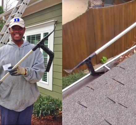 This Ingenious Gutter Cleaning Tool Lets You Work Under Gutter Brackets