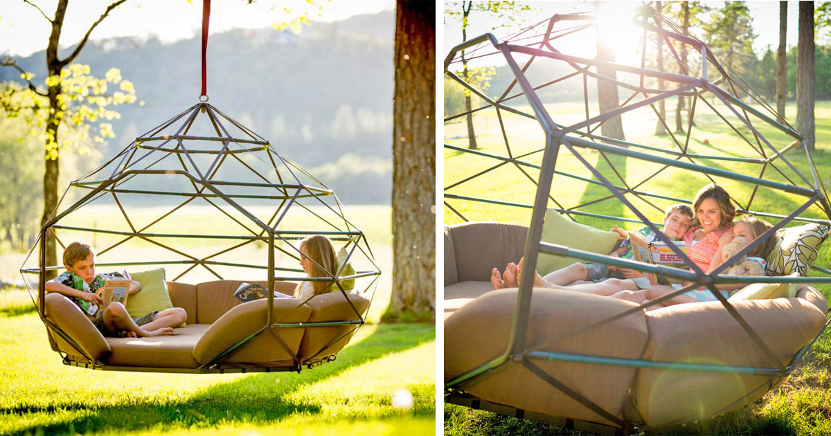 The Kodama Zome Is a Giant Hanging Outdoor Lounger That Fits 4 People