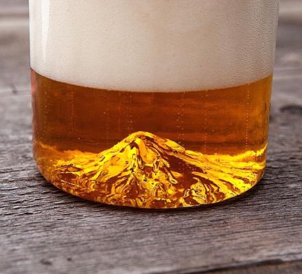 Oregon Pint Glass Has a Mountain Molded Inside Of It