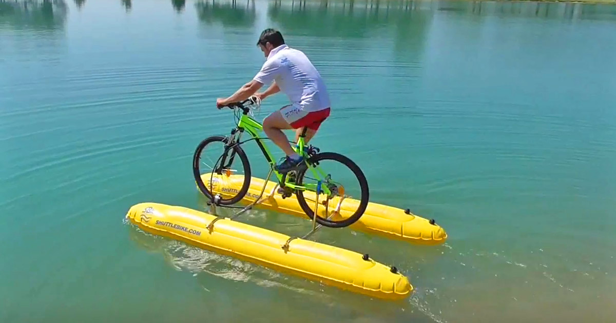 The ShuttleBike Turns Your Bicycle Into a Pontoon Boat