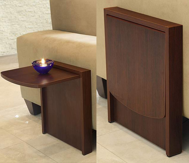 The tuc away table is a side table that flips up when you for Side table for sectional sofa