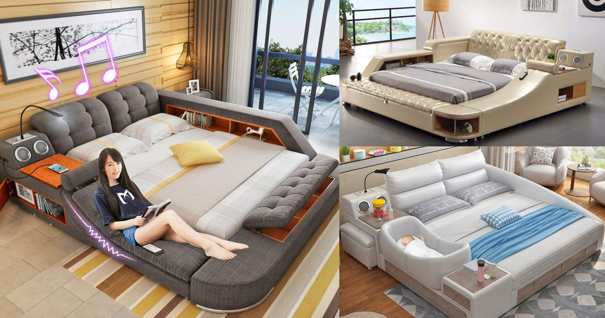 The Ultimate Bed With Integrated Massage Chair Speakers And Desk