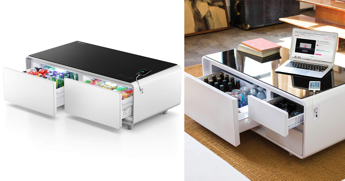 The Ultimate Coffee Table With Built-In Fridge and Speaker System