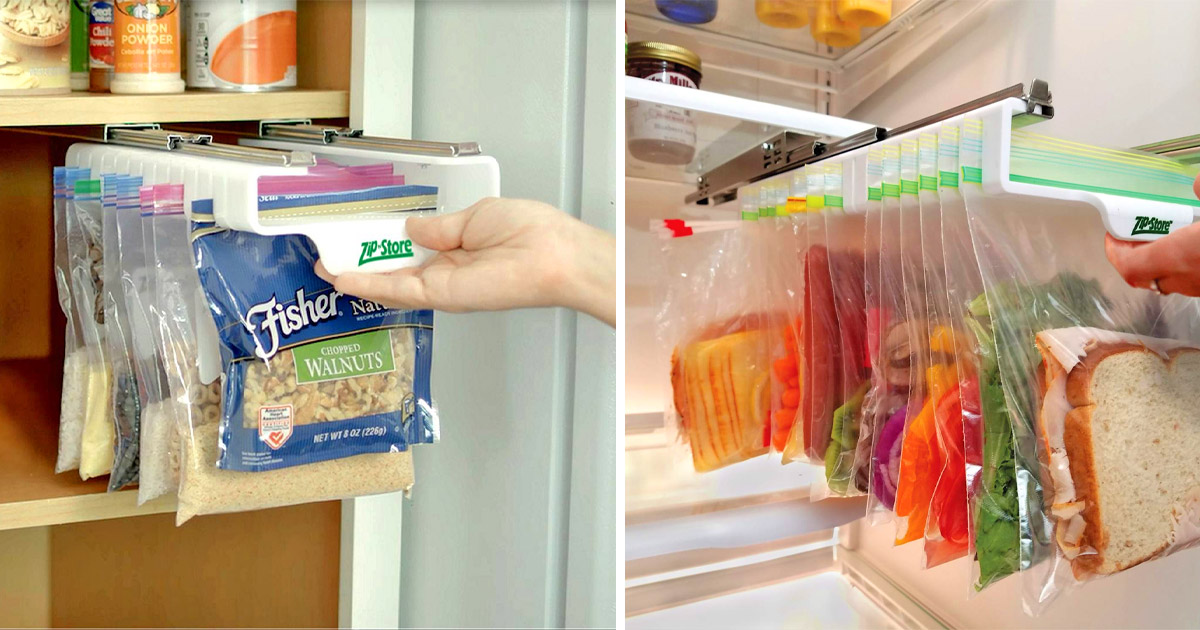 The Zip n Store Is a Slide-Out Organizer For Ziploc Bags In The Fridge