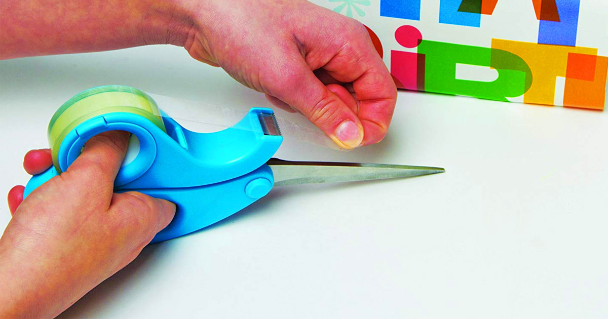 There Are Now Scissors With Tape Built Into The Handle For Easy Gift Wrapping