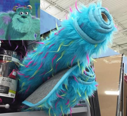 There's a Blue Furry Floor Rug That Looks Like It Was Made From Sully From Monsters Inc