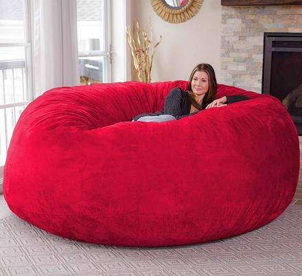 There S A Giant 8 Foot Bean Bag Chair That Can Fit Up To 3