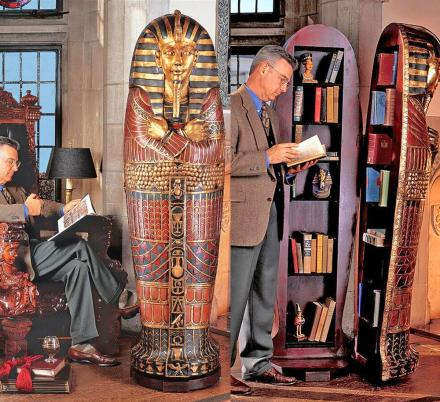There's a Life-size King Tut Sarcophagus That Opens Up To a Hidden Bookcase