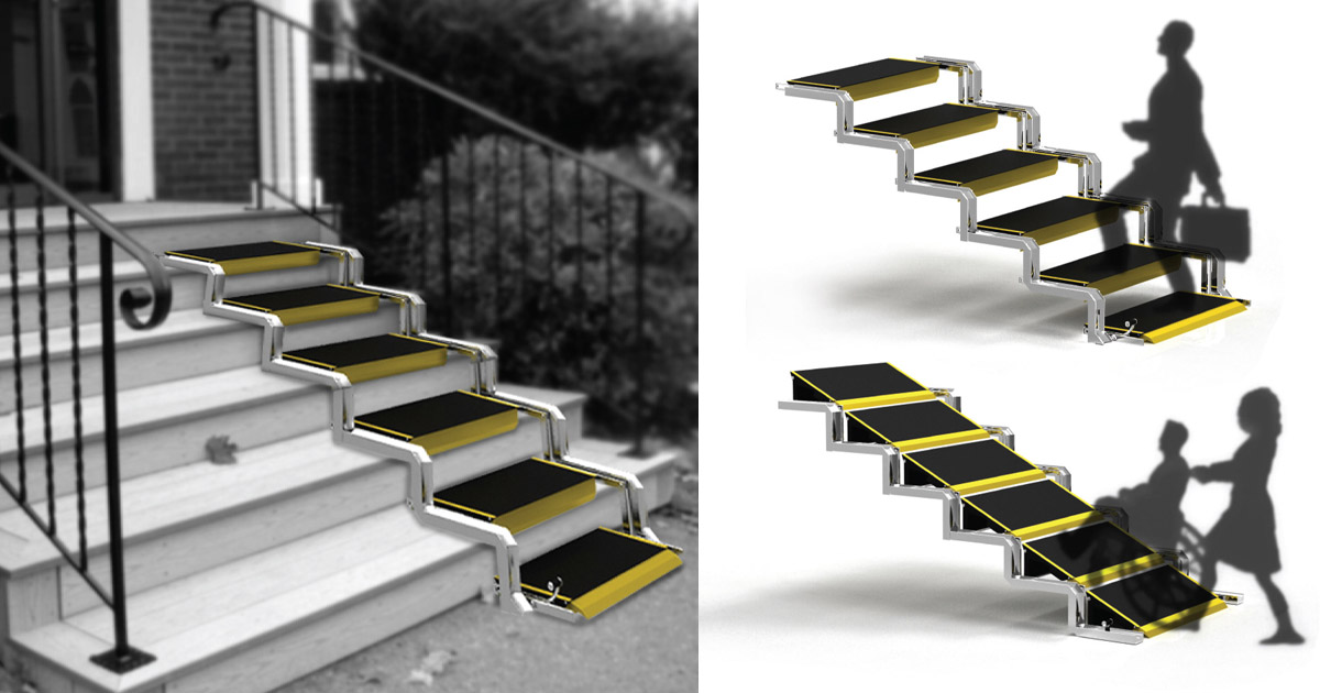 These Convertible Stairs Convert Into a Wheelchair Ramp When Needed