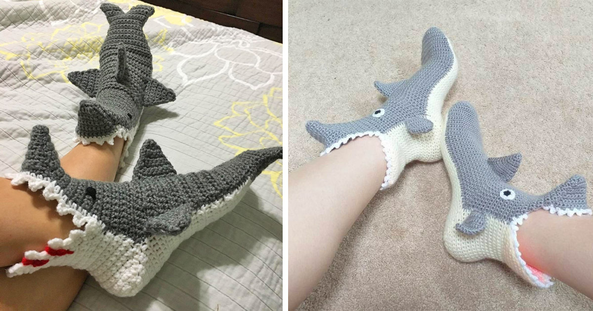 These Crochet Shark Bite Slippers Look Like They
