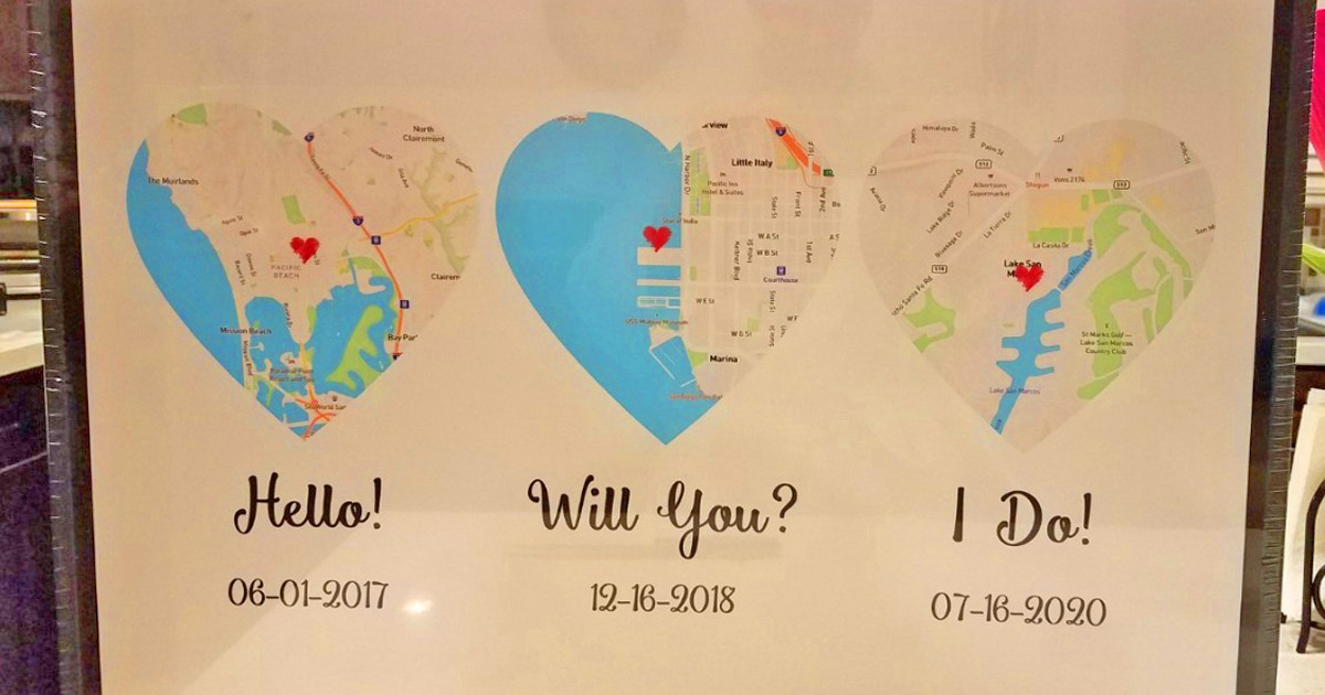 These Custom Map Prints Let You Track How Your Relationship Formed In The Cutest Way Possible