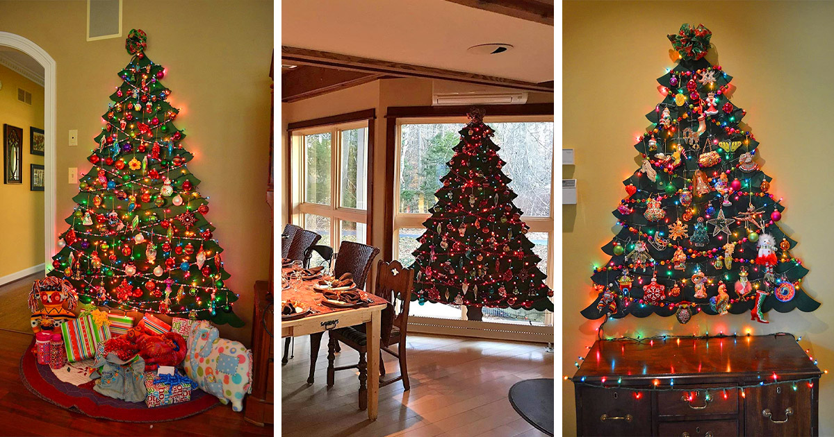 These Flat Wall Mounted Christmas Trees Will Save Tons Of Space In Smaller Homes