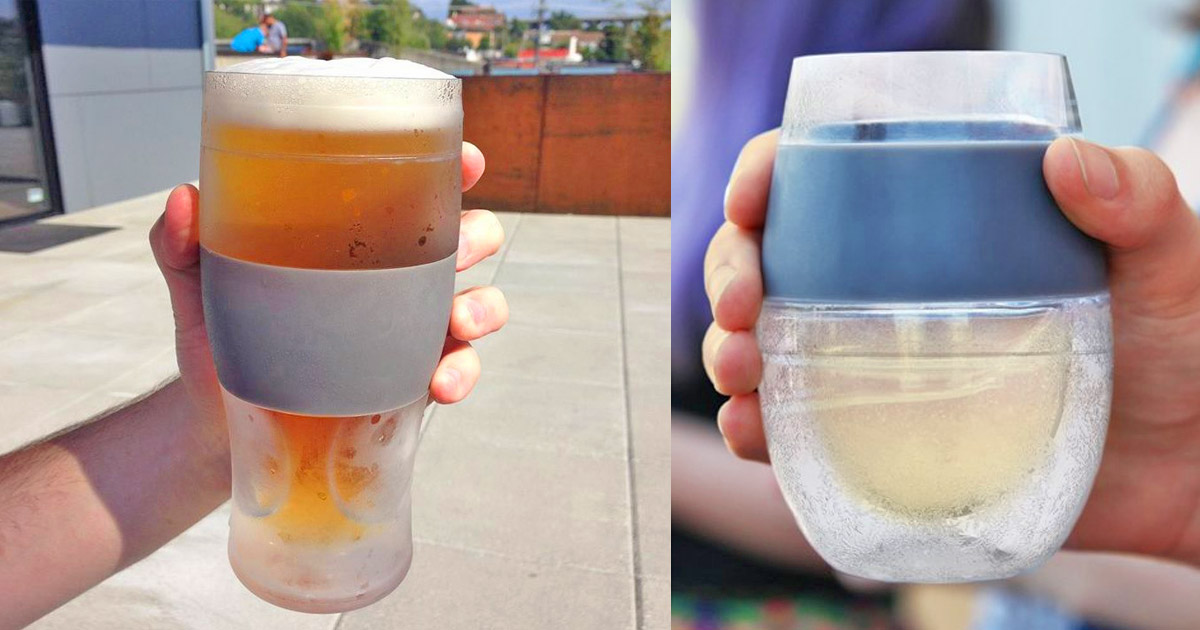 These Freeze Beer Glasses Have a Built-In Silicone Koozie Hand Grip