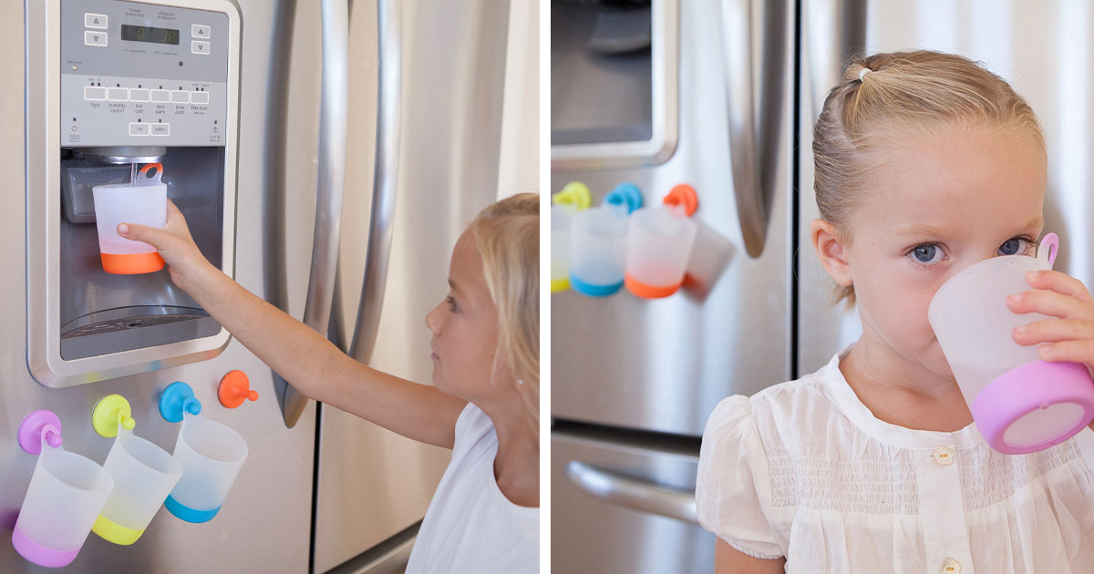 These Fridge Suctioned Hanging Kids Cups Make Life Easier For Kids and Parents