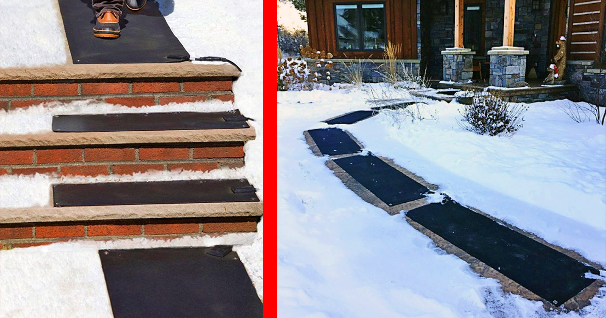These Heated Mats Prevent Snow and Ice From Building Up On Your Outdoor Stairs and Walkways