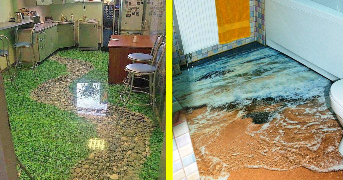 These Incredible 3D Epoxy Floors Will Turn Your Room Into a Beach, Canyon, or Grassy Pathway