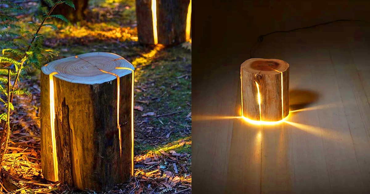 These Incredible Log Lamps Are Made From Old Salvaged Logs