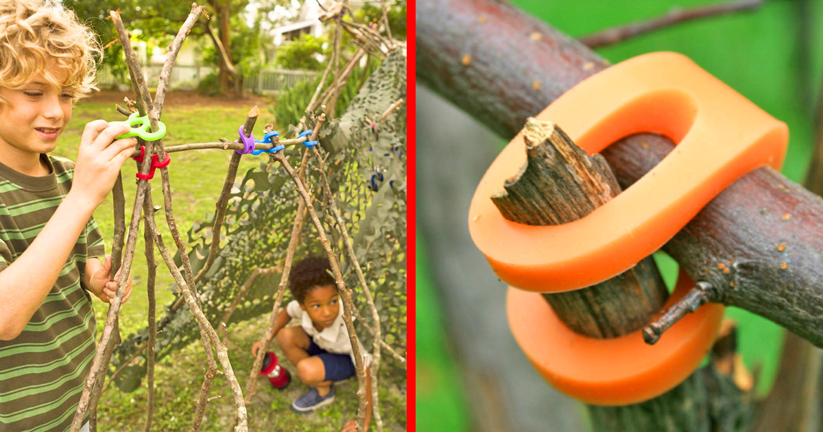 These Incredible Rubber Connectors Allow Kids To Easily Build Forts Using Just Sticks