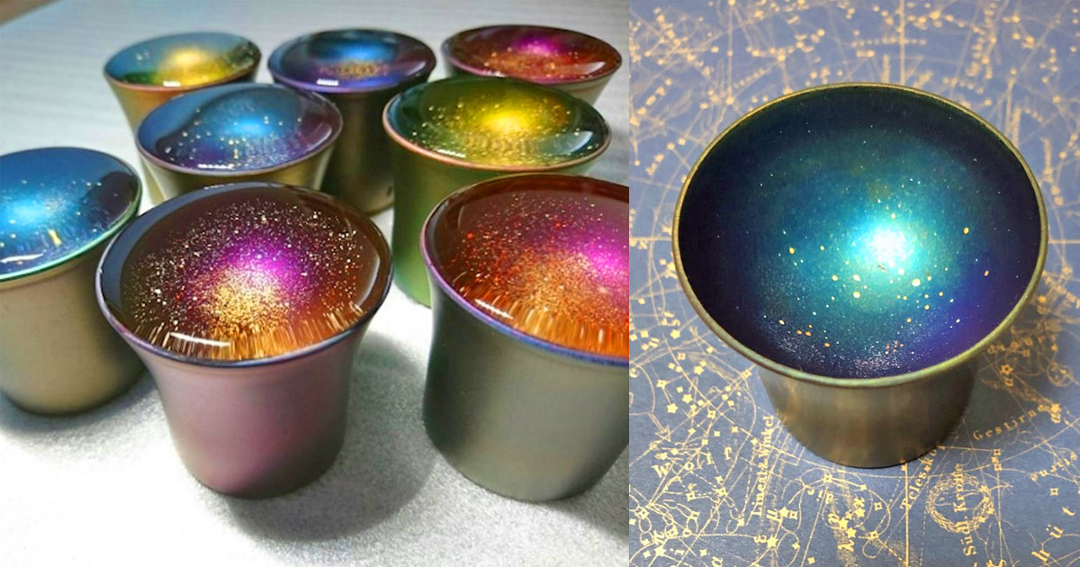 These Japanese Cups Turn Into Mini Galaxies When Clear Liquid Is Added