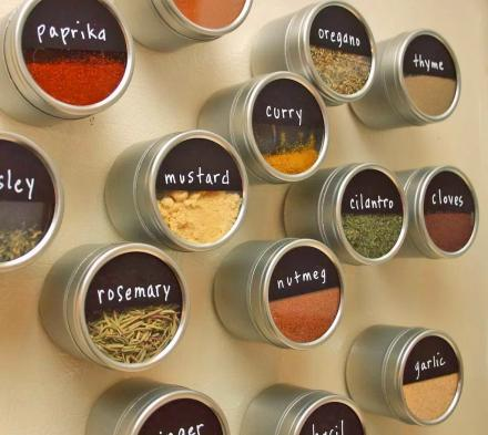 These Magnetic Spice Tins Organize Right On Your Refrigerator