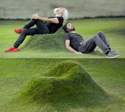 These Natural Grass Chairs Are Made Into Your Lawn Using Cardboard Frames