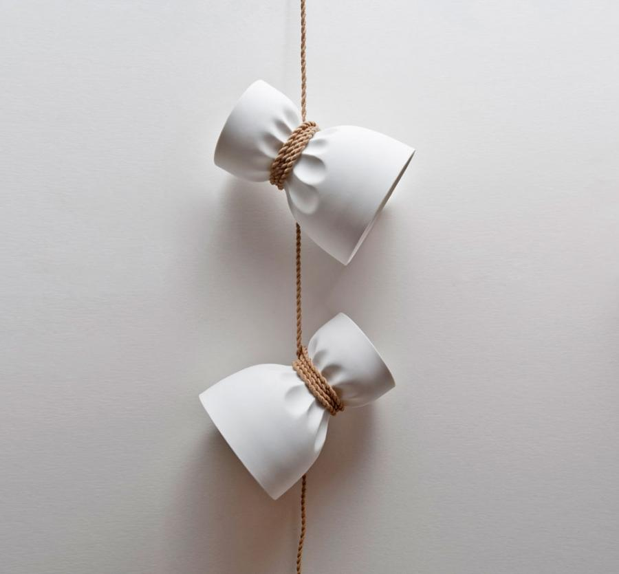 crumple white pendant lamp lighting. these really well designed pendant lamps are made to look like the rope that they were hung with too tight thus crumpling lamp fixture crumple white lighting v