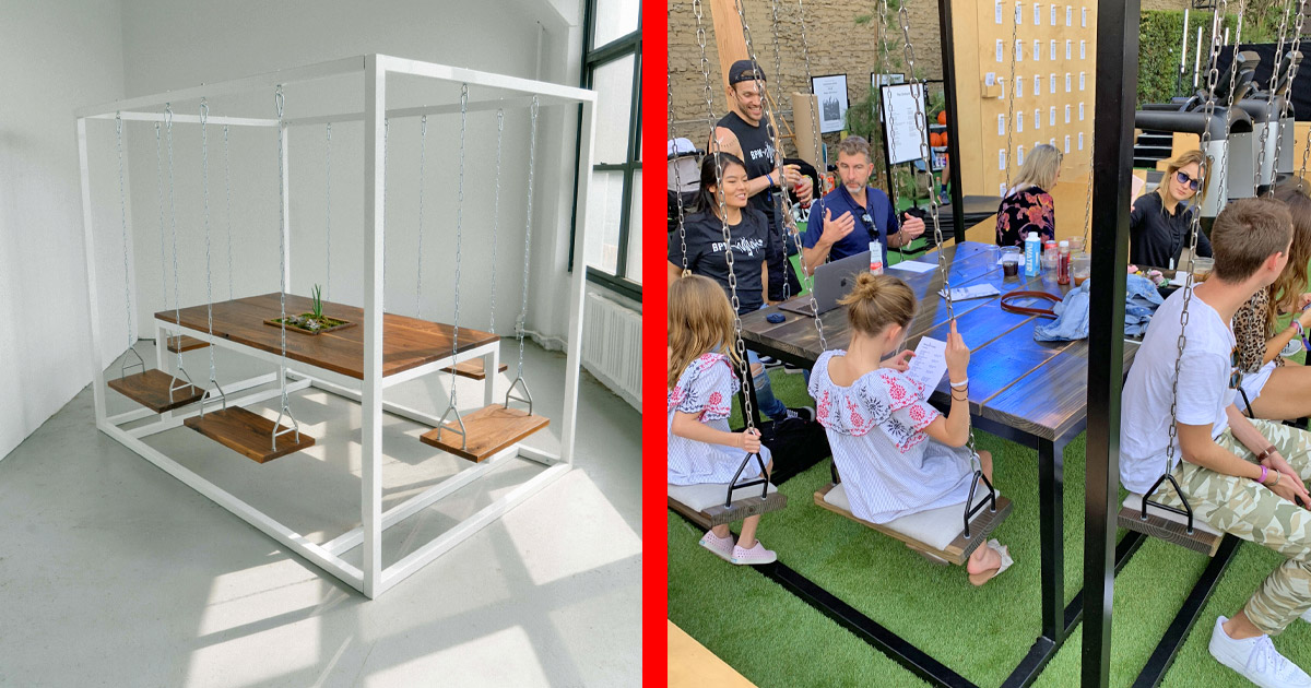 These Swing Tables Let You Swing While You Eat or Have a Meeting