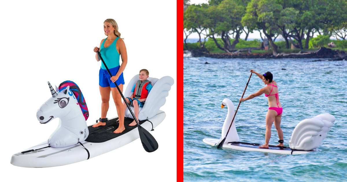 These Unicorn and Shark Paddleboard Floats Give Your Child a Comfy Seat While On The Water