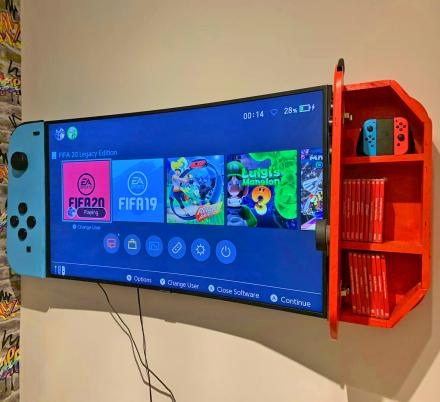 These Wall-Mounted Cabinets Turn Your TV Into a Giant Nintendo Switch