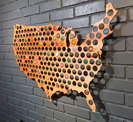 These Wooden Beer Cap Maps Are Perfect For Beer Cap Collectors