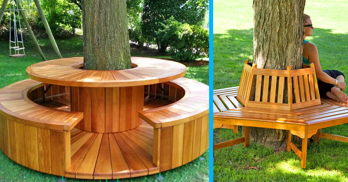 These Wrap-Around Tree Benches Provide Beautiful Outdoor Seating Around The Base Of a Tree