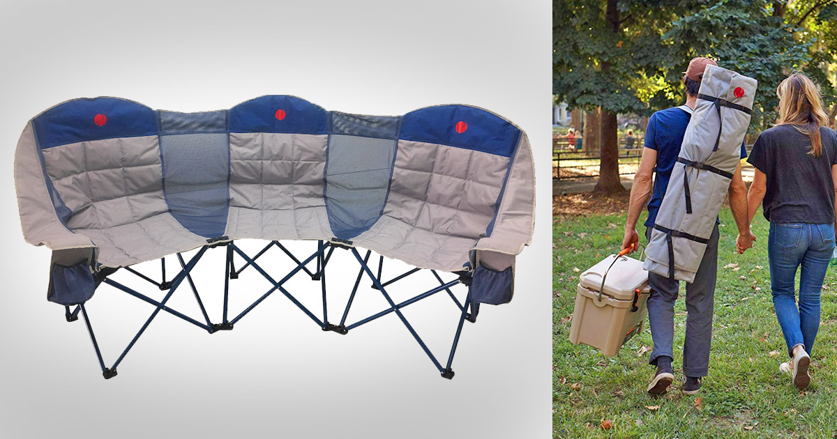 This 3-Person Folding Chair Is The Ultimate Camping Accessory