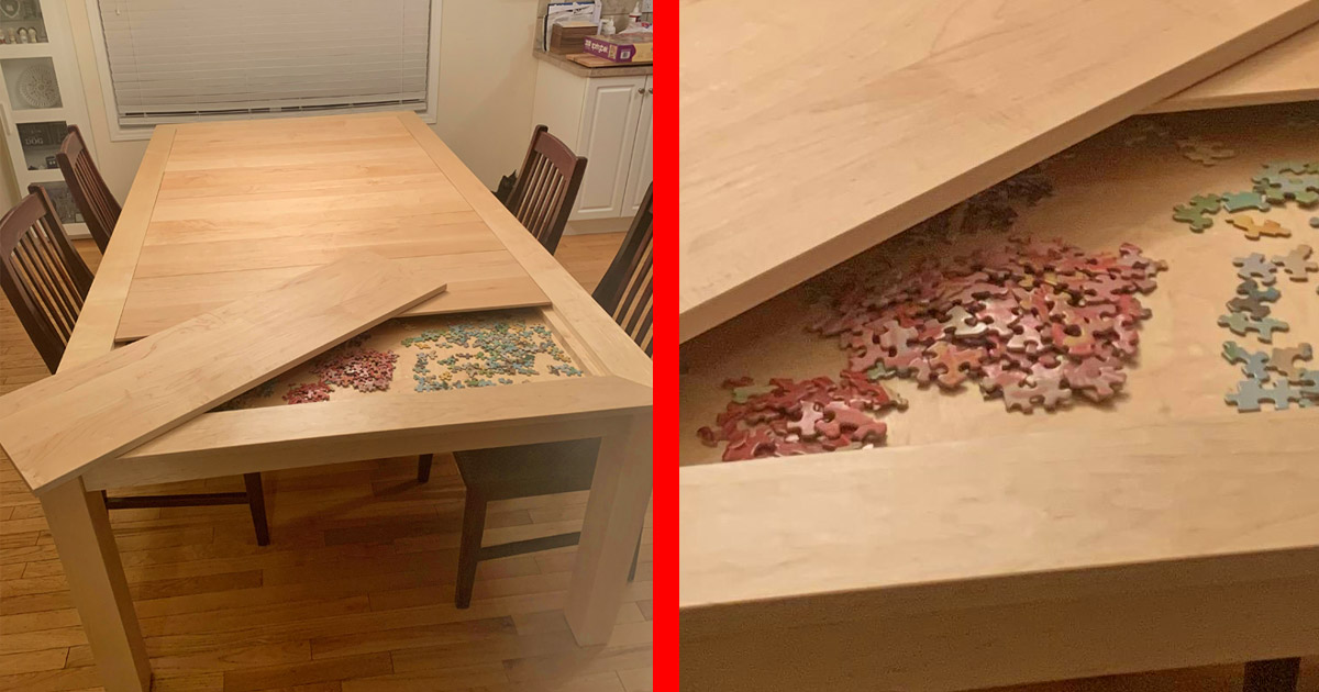 This Amazing Dining Table Has A Hidden Game Puzzle Compartment Under The Surface