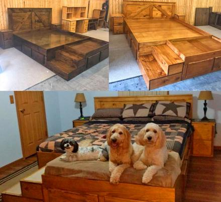 This Wooden King Bed Has Built In Stairs Along With Extra Space At The End Of It For Your Dogs