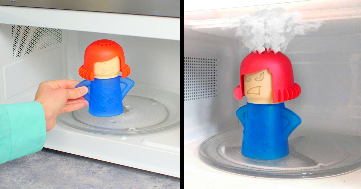 This Angry Mama Microwave Cleaner Uses Steam To Clean The Crud Off