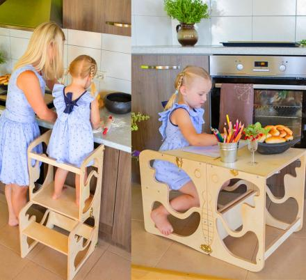 This Awesome Toddler Kitchen Tower Helper Stool Also Doubles as a Craft Table