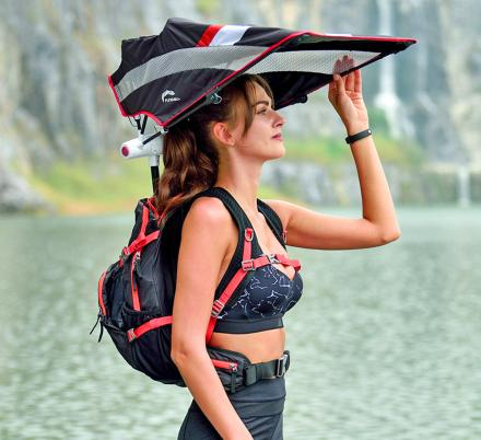 This Backpack Has a Retractable Umbrella For Sun and Rain Protection While Hiking