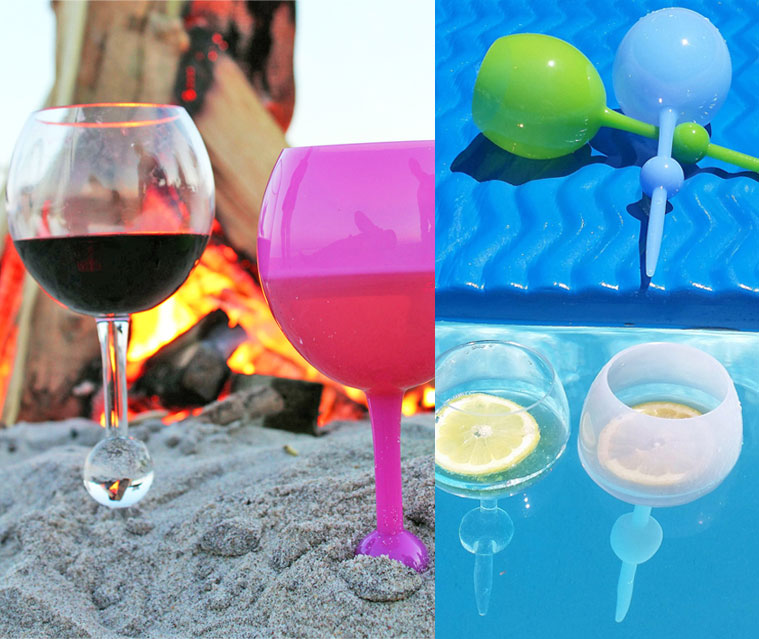 similar to the spiked beach drink holder that holds your drink up by pounding a spike into the sand the beach glass is an actual glass you drink from that - Floating Wine Glass
