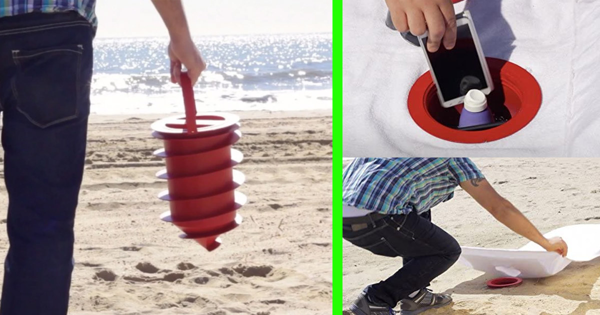 This Beach Vault Screws Into The Sand To  Hide and Protect Your Belongings From Beach Thieves
