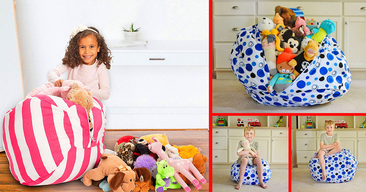 This Bean Bag Chair Lets Your Child Store Their Stuffed Animals Inside Of It