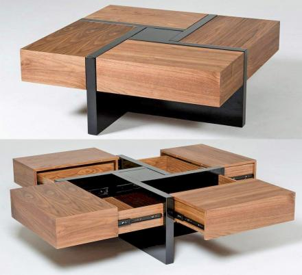 This Beautiful Wooden Coffee Table Has 4 Secret Drawers That Make For a Really Cool Design
