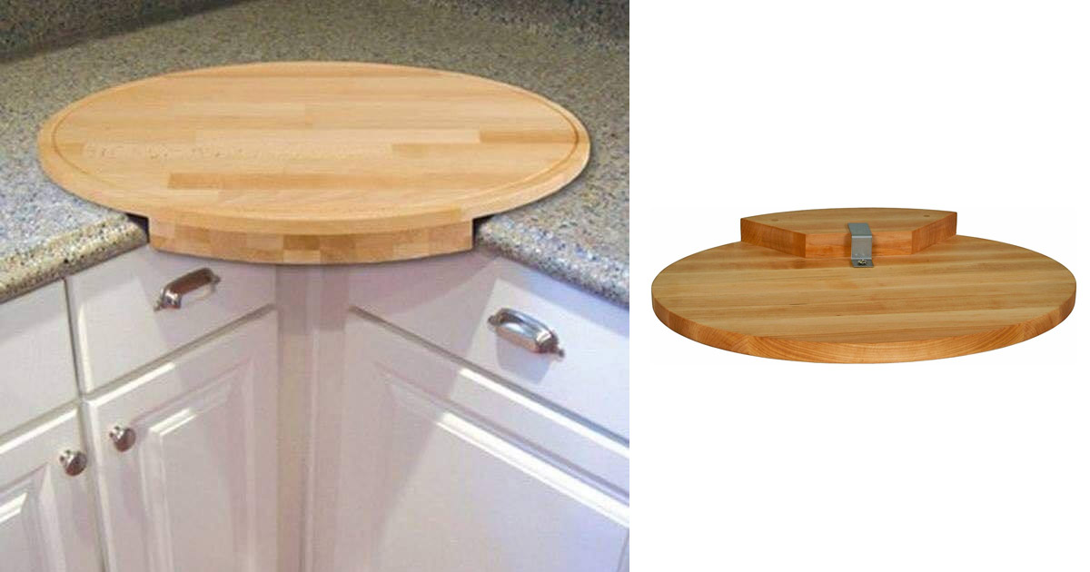 This Beautiful Wooden Corner Cutting Board Attaches Securely To The Corner Of Your Counter