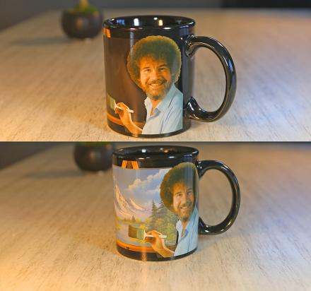This Bob Ross Heat Changing Mug Makes a Painting Appear With Hot Liquid