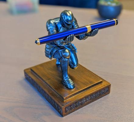 This Bowing Medieval Knight Pen Holder Deserves a Spot On Every Geeks Desk