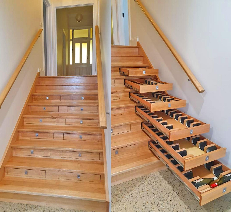 Staircase Into An Incredible Wine Cellar