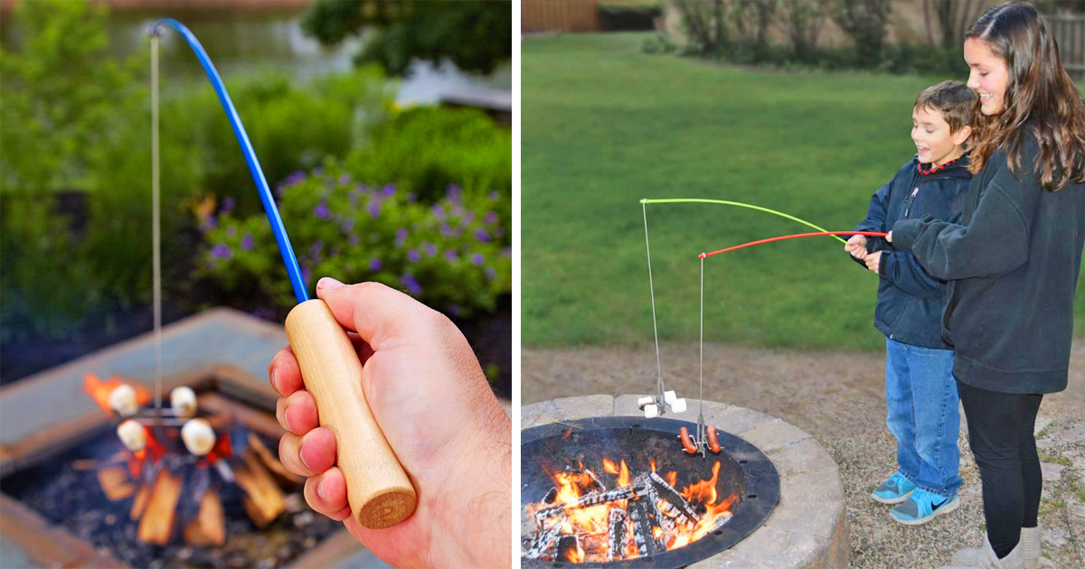 This Campfire Fishing Pole Roaster Lets You Roast Mallows Like You