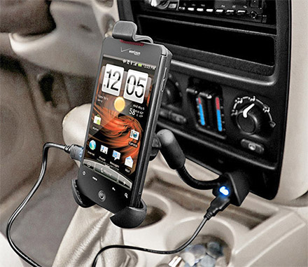 This Car Phone Mount Is Attached Right To Your Cars Power Adapter