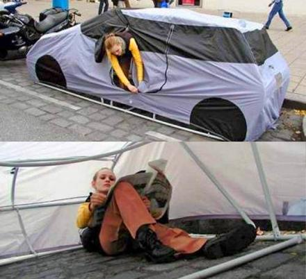 This Car Shaped Tent Is Perfect For Urban Camping and Holding Parking Spaces