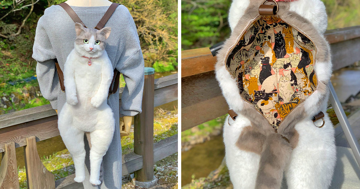 This Cat Backpack Looks Like a Real Live Cat